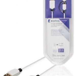 Synkronointi- ja latauskaapeli USB Micro B -urosliitin A-urosliitin + 8-nastainen Lightning-urosliitin 1 00 m valkoinen