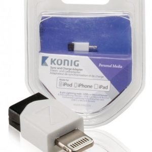 Synkronointi- ja lataussovitin 8-nastainen Lightning-liitin uros USB 2.0 Micro B -naarasliitin 1 kpl valkoinen