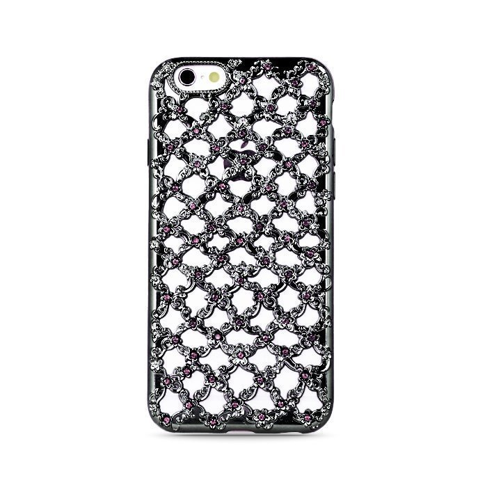 TPU Flower Diamond iPhone 7 Musta Suojakotelo