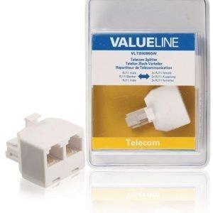 Telecom-jakaja RJ11 uros 2x RJ11 naaras valkoinen