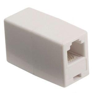 Telecom-liitoskappale RJ11 naaras RJ11 naaras valkoinen
