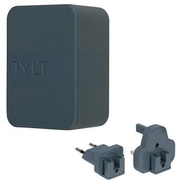 Tylt 4.8A Dual USB Matkalaturi EU UK US Harmaa