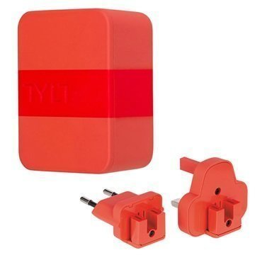 Tylt 4.8A Dual USB Matkalaturi EU UK US Punainen