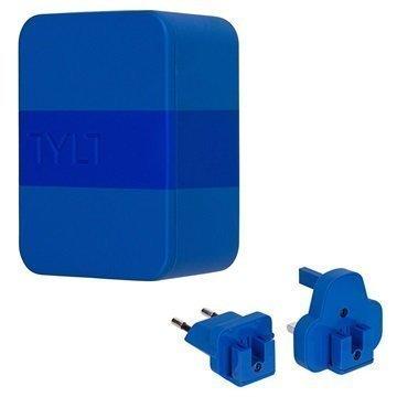 Tylt 4.8A Dual USB Matkalaturi EU UK US Sininen