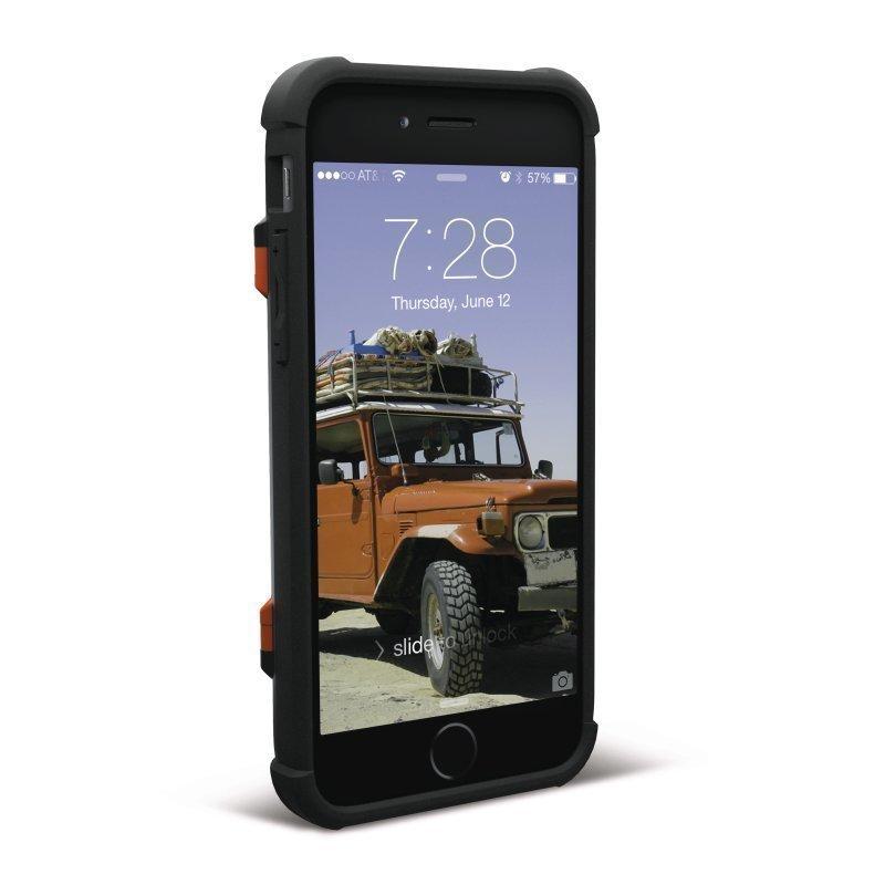 UAG Urban Armor Gear Trooper Card Case kestävä suojakotelo iPhone 7 / 6 / 6S Musta-oranssi