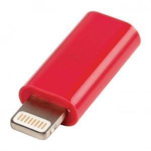 USB Lightning sovitin Lightning uros USB Micro B naaras punainen