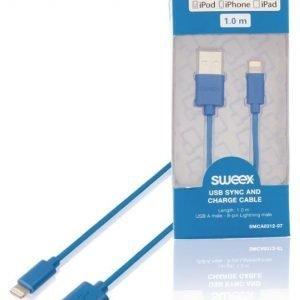 USB-kaapeli synkronointiin ja lataukseen USB A -urosliitin 8-nastainen Lightning-urosliitin 1 00 m musta