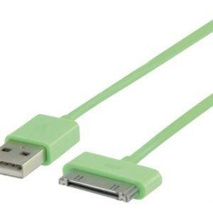 USB synkronointi- ja latauskaapeli 30-napainen telakka uros USB A uros 2 00 m vihreä