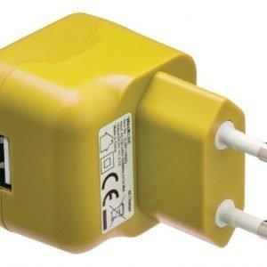 USB-vaihtovirtalaturi USB A naaras vaihtovirtaliitäntä keltainen