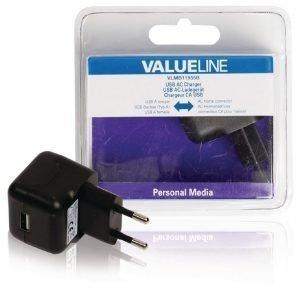 USB-vaihtovirtalaturi USB A naaras vaihtovirtaliitäntä musta 2.1A