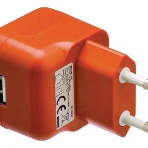 USB-vaihtovirtalaturi USB A naaras vaihtovirtaliitäntä oranssi
