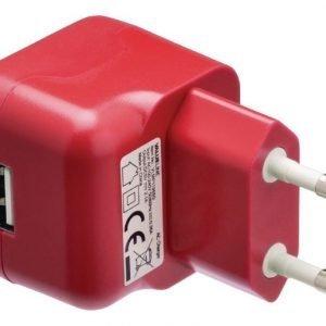 USB-vaihtovirtalaturi USB A naaras vaihtovirtaliitäntä punainen