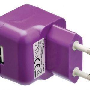 USB-vaihtovirtalaturi USB A naaras vaihtovirtaliitäntä purppura