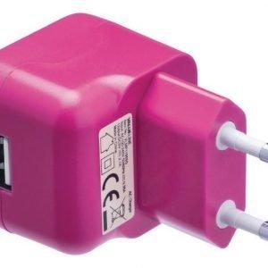 USB-vaihtovirtalaturi USB A naaras vaihtovirtaliitäntä vaaleanpunainen