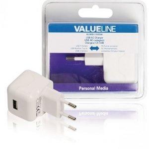 USB-vaihtovirtalaturi USB A naaras vaihtovirtaliitäntä valkoinen 2.1A