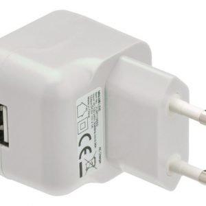USB-vaihtovirtalaturi USB A naaras vaihtovirtaliitäntä valkoinen
