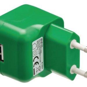 USB-vaihtovirtalaturi USB A naaras vaihtovirtaliitäntä vihreä