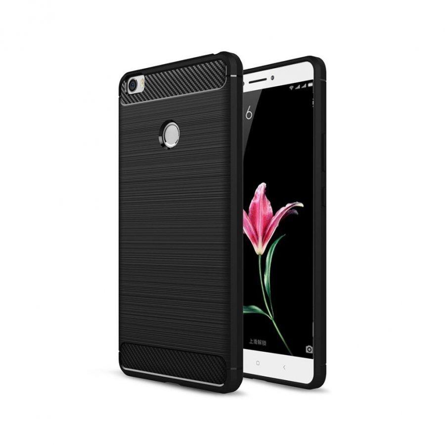 Xiaomi Mi Max Harjattu Hiilikuitu Kuvioinen Muovikuori Musta