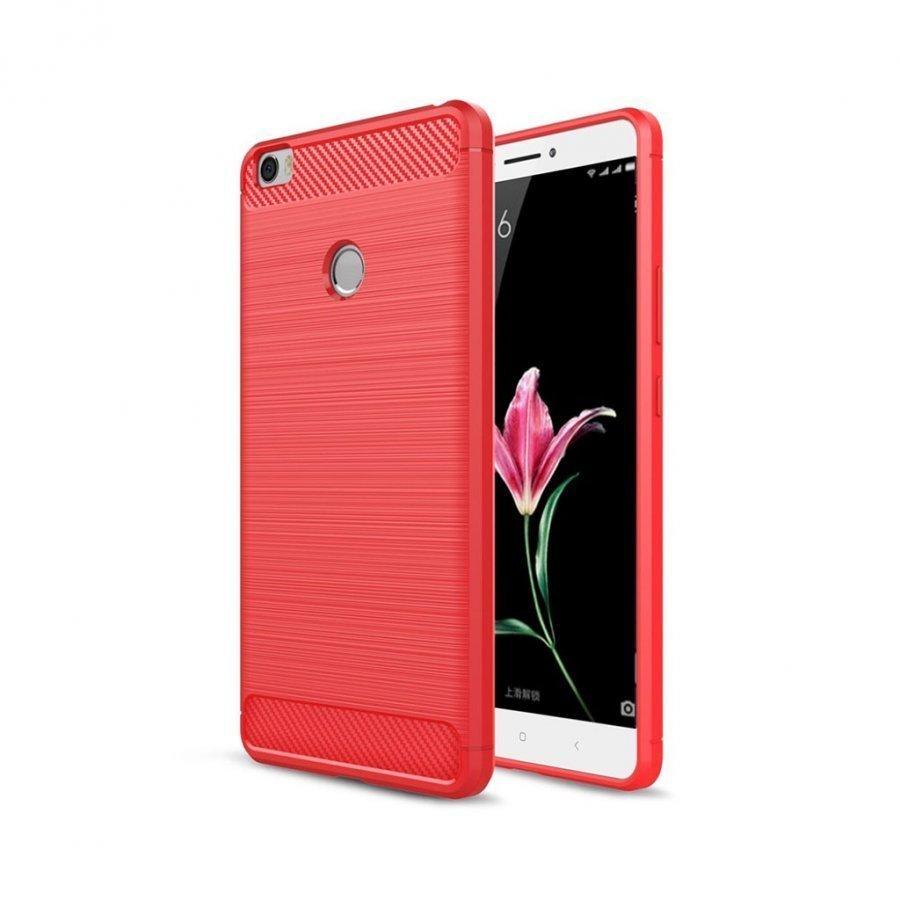 Xiaomi Mi Max Harjattu Hiilikuitu Kuvioinen Muovikuori Punainen