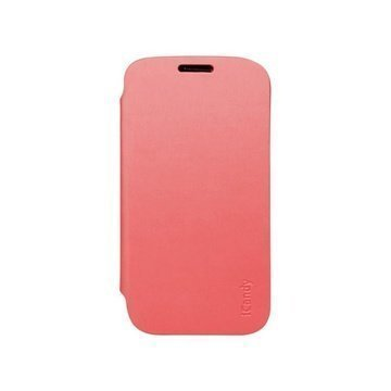 iCandy Läpällinen Nahkakotelo Samsung Galaxy S4 I9500 I9502 I9505 Pinkki