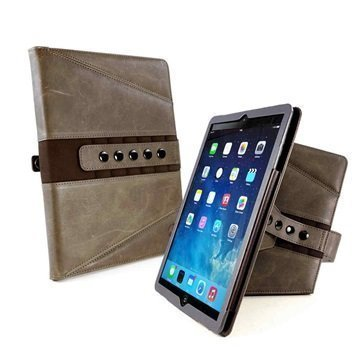 iPad Pro 9.7 Tuff-luv Tri-Axis Vintage Genuine Leather Case Ruskea
