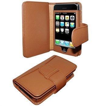 iPhone 3G / 3GS Piel Frama Wallet Nahkakotelo Parkittunahka