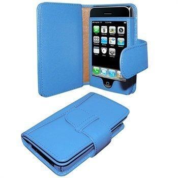 iPhone 3G / 3GS Piel Frama Wallet Nahkakotelo Sininen