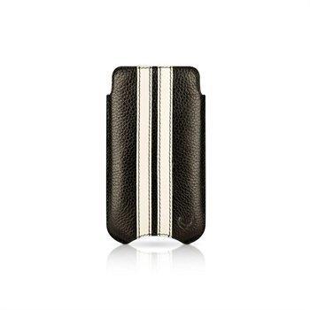 iPhone 4 / 4S Beyzacases SlimLine Stripes Nahkakotelo Musta / Valkoinen