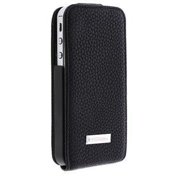 iPhone 4 / 4S Commander Premium DeLux Nahka Kotelo Nahka Musta