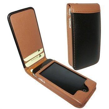 iPhone 4 / 4S Piel Frama Classic Magnetic Nahkakotelo Musta / Parkittunahka