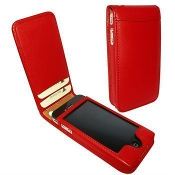 iPhone 4 / 4S Piel Frama Classic Magnetic Nahkakotelo Punainen