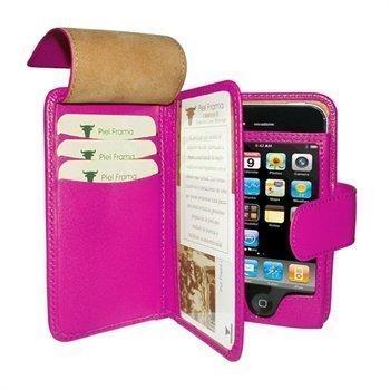 iPhone 4 / 4S Piel Frama Wallet Nahkakotelo Fuchsia Verenpunainen