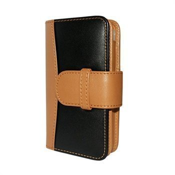 iPhone 4 / 4S Piel Frama Wallet Nahkakotelo Musta / Parkittunahka