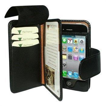 iPhone 4 / 4S Piel Frama Wallet Nahkakotelo Musta
