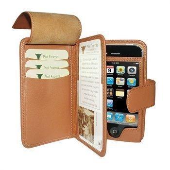 iPhone 4 / 4S Piel Frama Wallet Nahkakotelo Parkittunahka