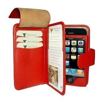 iPhone 4 / 4S Piel Frama Wallet Nahkakotelo Punainen
