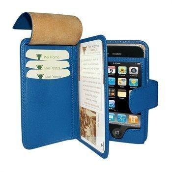 iPhone 4 / 4S Piel Frama Wallet Nahkakotelo Sininen