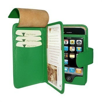 iPhone 4 / 4S Piel Frama Wallet Nahkakotelo Vihreä