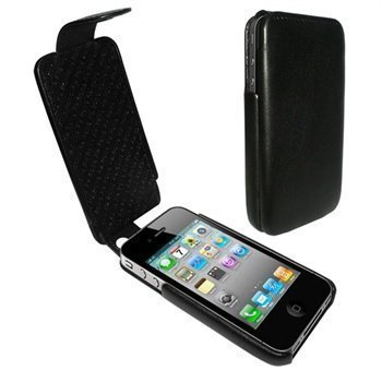 iPhone 4 / 4S Piel Frama iMagnum Nahkakotelo Musta