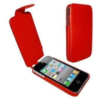 iPhone 4 / 4S Piel Frama iMagnum Nahkakotelo Punainen