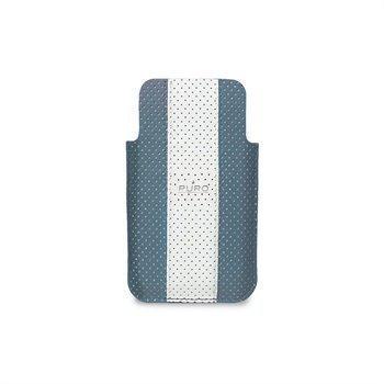 iPhone 4 / 4S Puro Nahkakotelo Golf Line Siniharmaa/Valkoinen