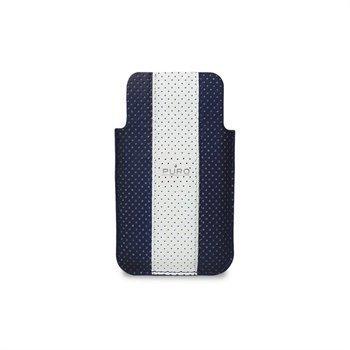 iPhone 4 / 4S Puro Nahkakotelo Golf Line Sininen/Valkoinen
