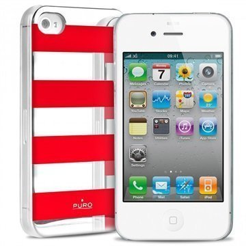 iPhone 4 / 4S Puro Stripe Suojakotelo Hopea / Punainen