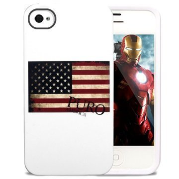 iPhone 4 / 4S Puro TPU Suojakotelo USA Lippu Valkoinen