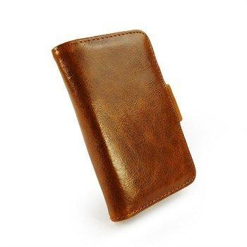iPhone 4 / 4S Tuff-Luv Vintage Nahkainen Lompakkokotelo Ruskea