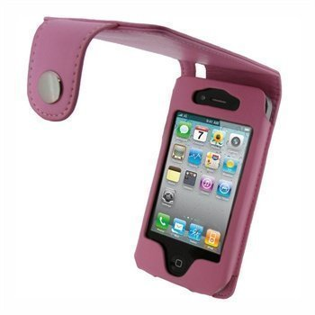 iPhone 4 / 4S iGadgitz Keinonahkakotelo Vaaleanpunainen
