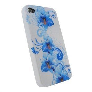 iPhone 4 / 4S iGadgitz Kukka Kova Kotelo Sininen