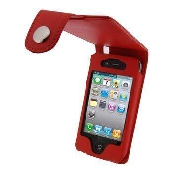 iPhone 4 / 4S iGadgitz Nahkainen Läppäkotelo Punainen