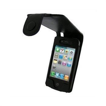 iPhone 4 / 4S iGadgitz Nahkakotelo Musta