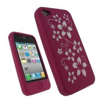 iPhone 4 iGadgitz Flower Design Silikoni Kotelo Vaaleanpunainen/Valkoinen